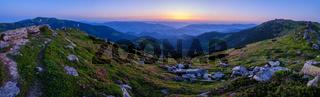 Carpathian morning summer panorama view.