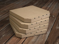 Pizza boxes on vintage wooden planks. Mock up.