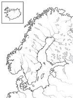 Map of The SCANDINAVIAN Lands: Scandinavia, Sweden, Norway, Finland, Denmark & Iceland. Geographic chart.