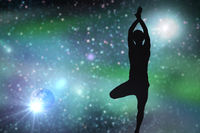 silhouette of man making yoga over space