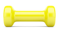 yellow dumbbell isolated on white background. 3d illustration