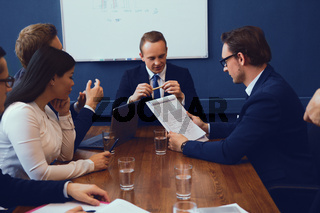 Group of business people having discussion