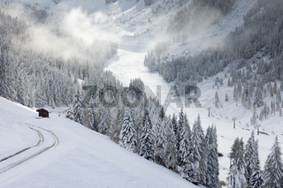 Snowy hiking trail in Valle Aurina