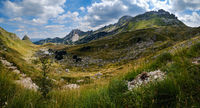 Summer mountain Durmitor National Park, Montenegro. Durmitor panoramic road, Sedlo pass.