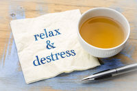 relax and distress note on napkin