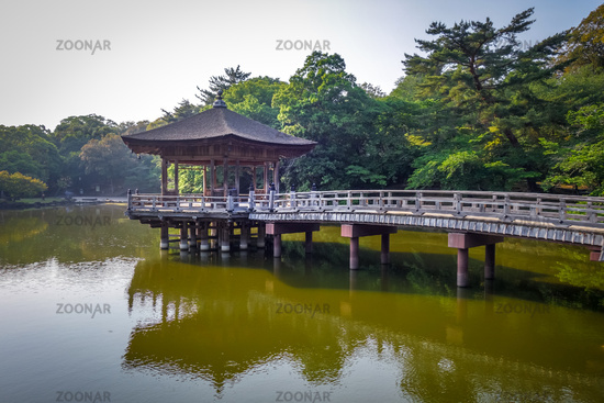 Ukimido Pavillion on water in Nara park, Japan