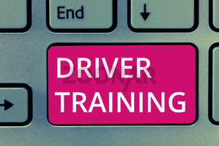 Conceptual hand writing showing Driver Training. Business photo showcasing prepares a new driver to obtain a driver's license