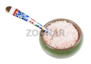 ceramic salt cellar with spoon with Himalayan Salt