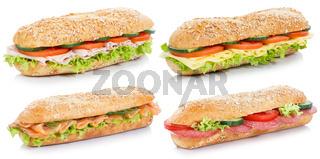 Brötchen belegt mit Schinken Salami Käse Lachs Fisch Sammlung Sandwich freigestellt FreistellerVollkorn Baguettes