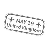 UK International travel visa stamp on white. Arrival sign gray rubber stamp with texture