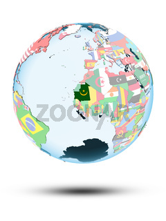 Mauritania on globe with flags