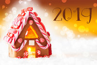 Gingerbread House, Golden Background, Text 2019