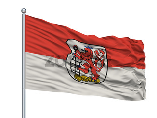 Wuppertal City Flag On Flagpole, Germany, Isolated On White Background