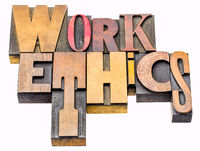 work ethics - isolated word abstract in wood type