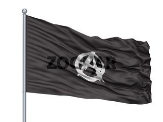 Anarchist Movement Flag On Flagpole, Isolated On White