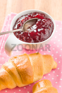 Raspberry jam jelly and croissant.
