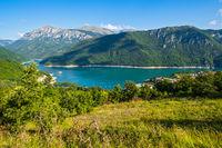 Piva Lake (Pivsko Jezero) and Pluzine town view in Montenegro.