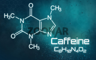 Chemical formula of Caffeine on a futuristic background