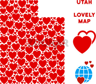 Vector Love Utah State Map Mosaic of Hearts