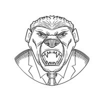 Angry Honey Badger Wearing Coat and Tie Drawing