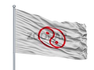 Isesaki City Flag On Flagpole, Japan, Gunma Prefecture, Isolated On White Background
