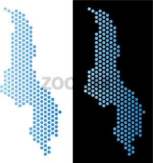 Malawi Map Hex-Tile Scheme