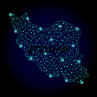 Polygonal Wire Frame Mesh Map of Iran with Light Spots