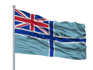 Civil Air Ensign Of United Kingdom Flag On Flagpole, Isolated On White