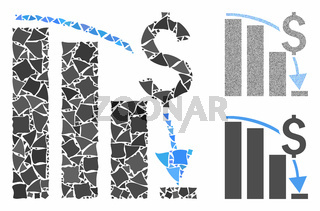 Financial crisis chart Mosaic Icon of Rough Elements