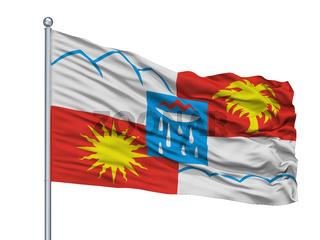 Samara City Flag On Flagpole, Russia, Isolated On White Background
