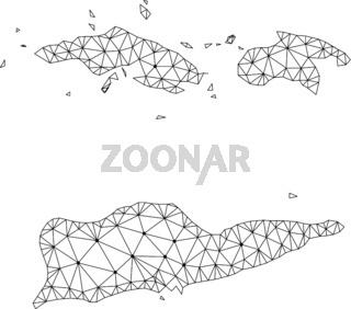 Polygonal Network Mesh Vector Map of American Virgin Islands