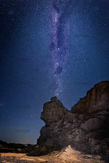 Queen Victoria Rock under a sky full of stars