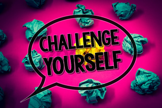 Handwriting text Challenge Yourself. Concept meaning Overcome Confidence Strong Encouragement Improvement Dare Huge emerald paper lobs surroundes yellow paper ball magenta color floor.