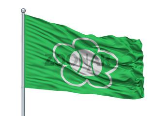 Komoro City Flag On Flagpole, Japan, Nagano Prefecture, Isolated On White Background