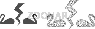 Vector Network Mesh Divorce Swans and Flat Icon