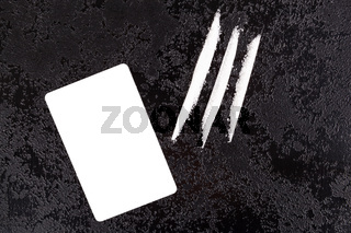 Cocaine lines with blank white card.