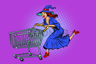 Halloween witch. shopping cart trolley sale