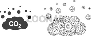 Vector Carcass Mesh CO2 Gas Emission and Flat Icon