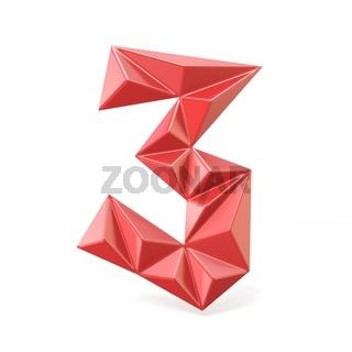 Red modern triangular font digit THREE 3 3D