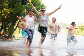 summer joy friends having fun on river