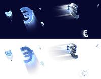Euro - fliegende Glas Zeichen mit Schweif