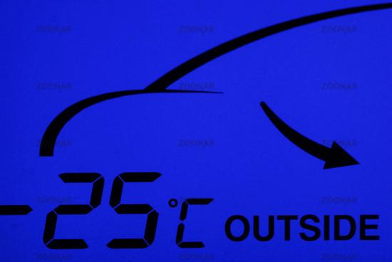 Temperaturanzeige einer Klimmaanlage im Auto