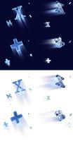 Plus und X fliegende Glas Zeichen