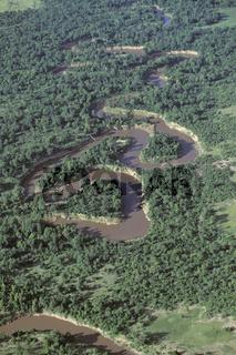 schlaengelnder Fluss in Afrika, Luftaufnahme