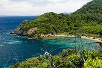 Green island and its beach meeting the Mediterranean Sea.