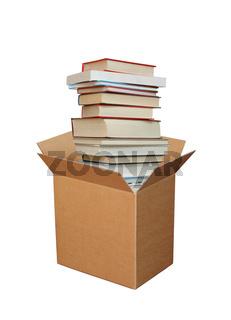 Bucher im Karton, Books in cardboard box