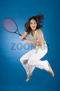 happy woman with tennis racket