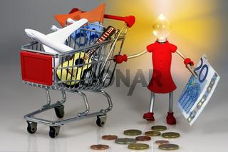 Girl mit Einkaufswagen