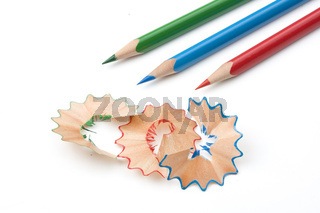wooden chippings and colored pens