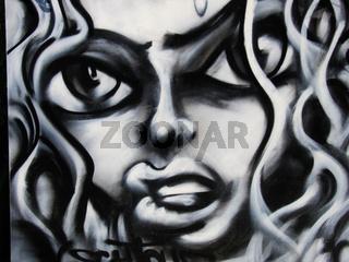 Frauenporträt Graffiti